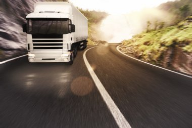 Truck driving on road