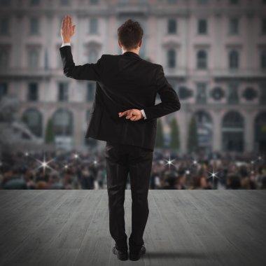 Liar businessman makes fingers crossed gesture