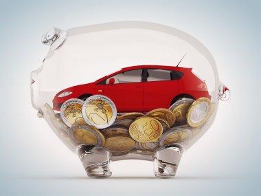 piggybank with coins and car