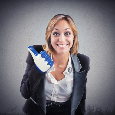 businesswoman with 3d Like thumb-up