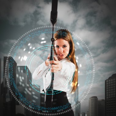 businesswoman with bow and an arrow