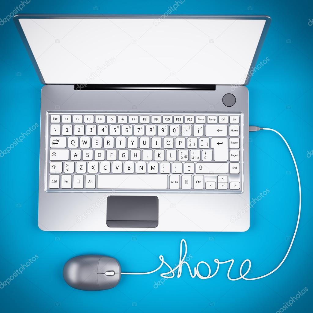 Laptop 3D with wire and mouse — Stock Photo © alphaspirit #106591574