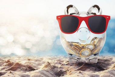 piggy bank with red sunglasses