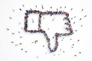 3D rendering of people forms dislike symbol stock vector