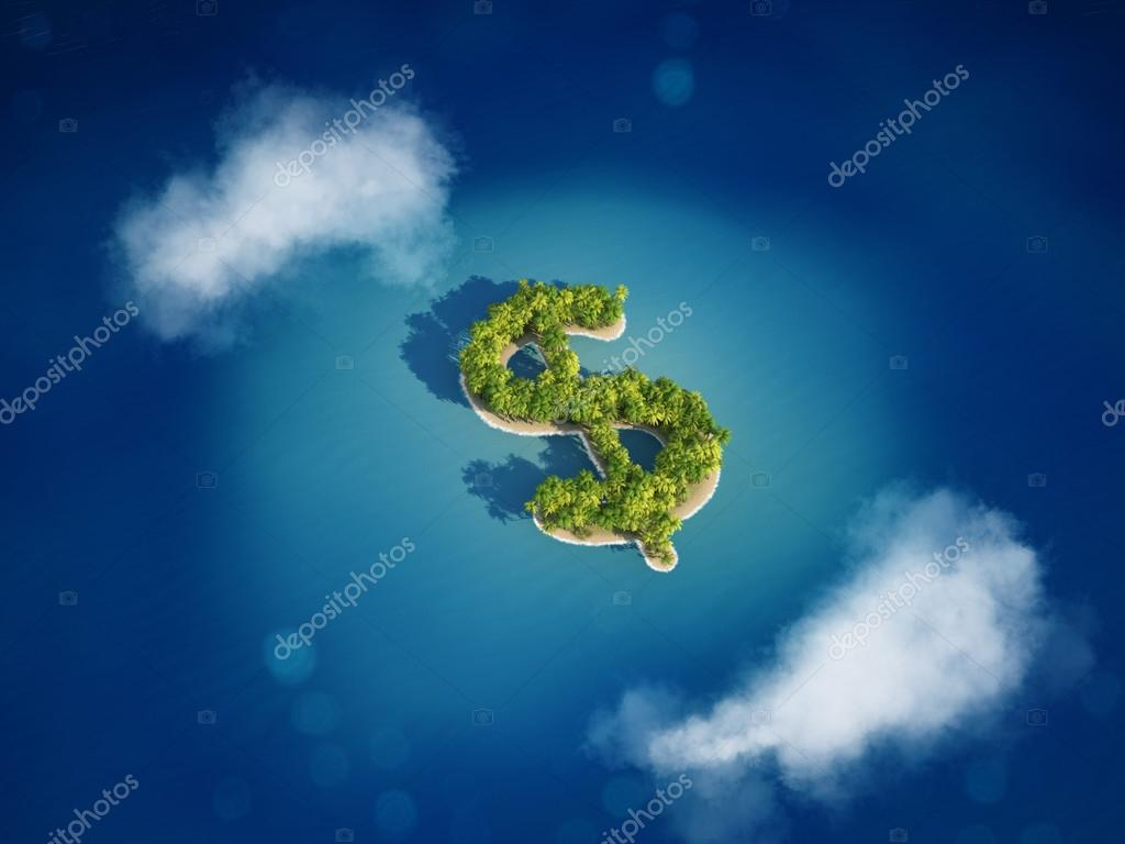 Island with the shape of the dollar