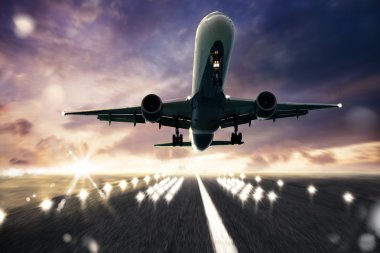 Aircraft taking off on a runway