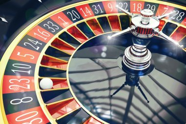 roulette with ball in casino