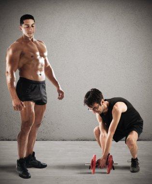 Instructor teasing  skinny boy