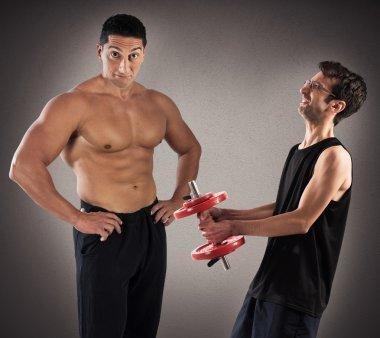 Instructor teasind skinny boy