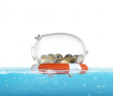 Lifebelt with piggy bank in the sea