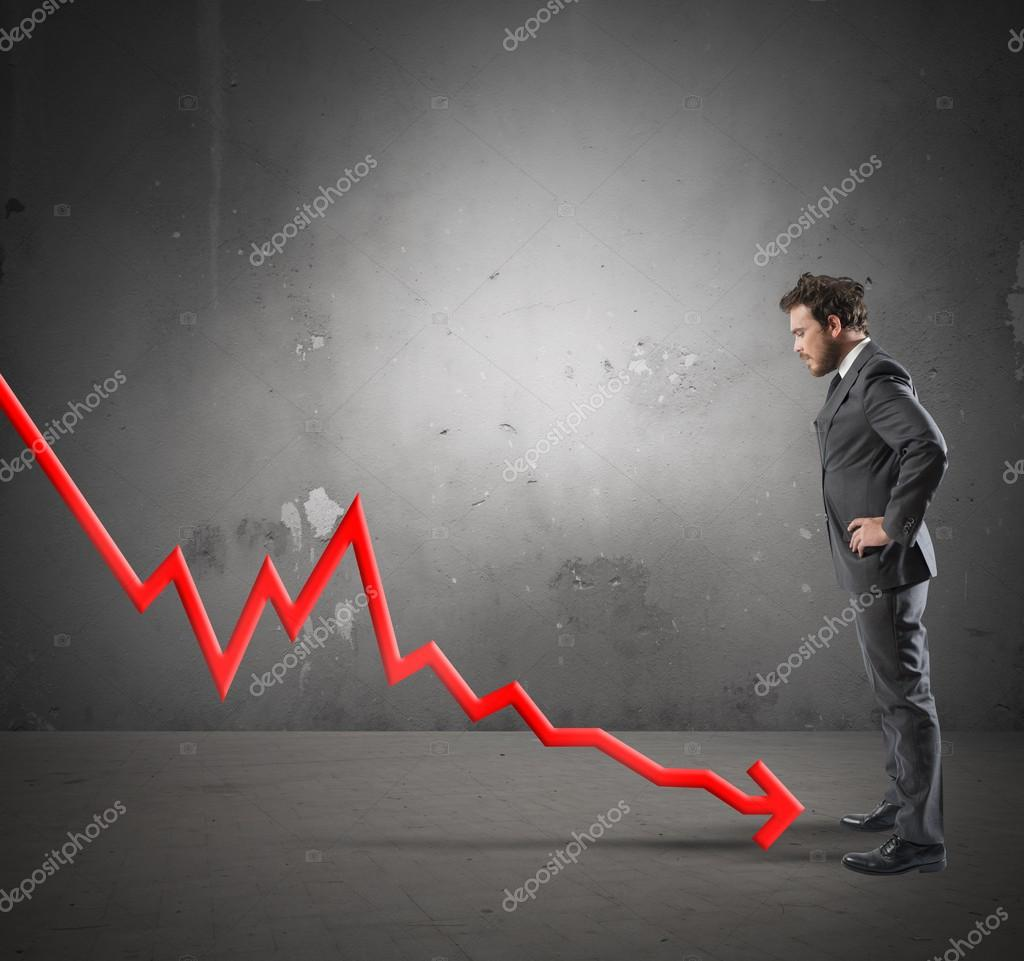 Businessman with negative statistics