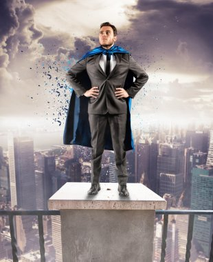 Businessman above the skyscrapers
