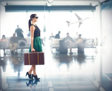 Woman with suitcase at airport for trip stock vector