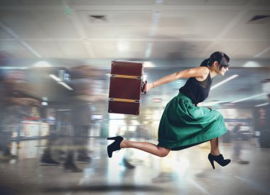 Woman late for her flight