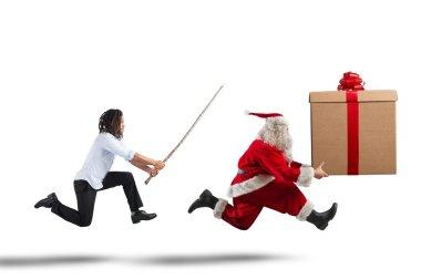 Man chasing Santa Claus