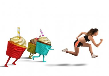 Woman runs away from sweets