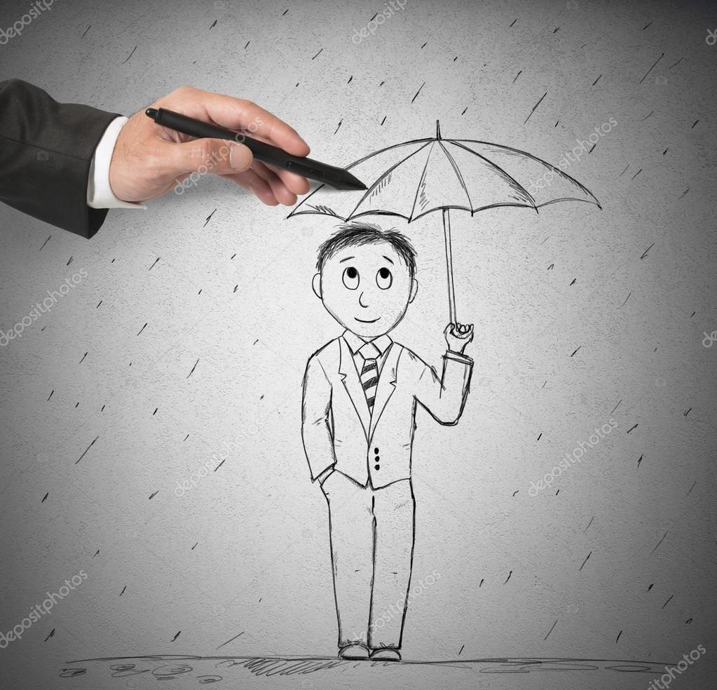 Dessin dhomme au parapluie photo
