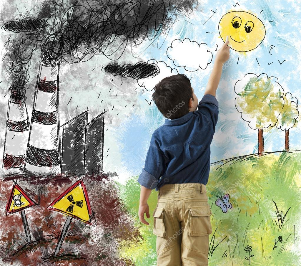 Child draws difference in landscape