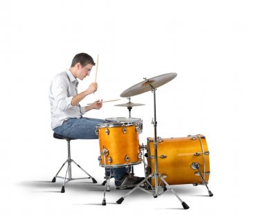 Musician plays his drums