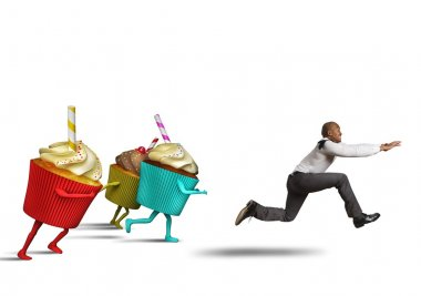 Man runs away from sweets
