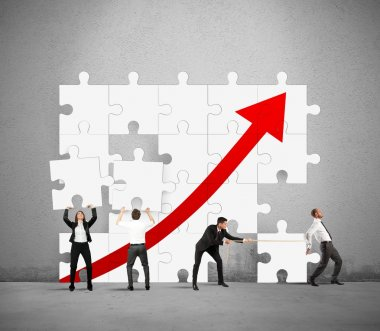 Business team works to raise statistics