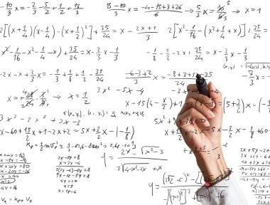 Woman explains mathematical calculation