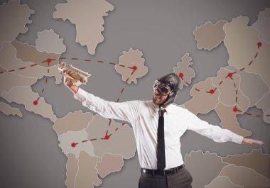 Businessman travel around world