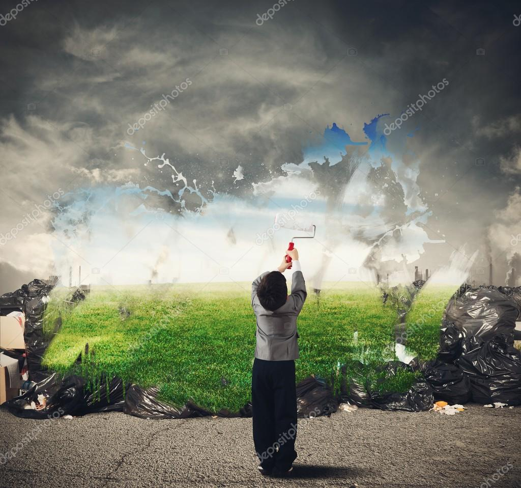 Child cleans the natural environment