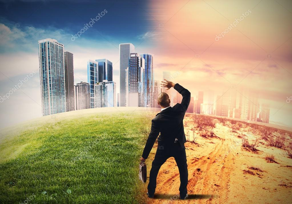 Businessman watching on global warming
