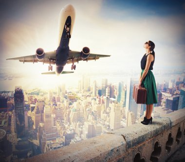 Woman tourists watch the takeoff of a aircraft stock vector