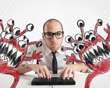 Businessman eradicate computer from viruses