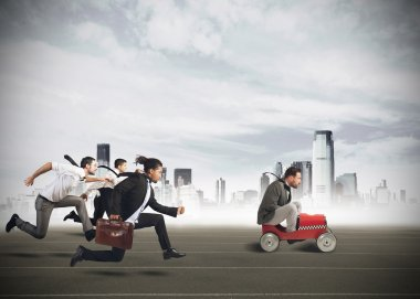 Businesspeople competing in a race