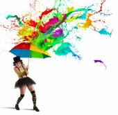 Fotografie Clown aus einem bunten Regen verstecken