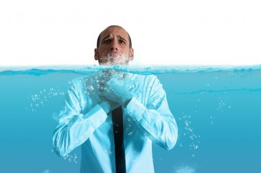 Businessman with the water in the throat