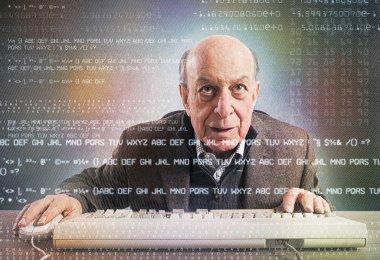 Elderly hacker nerd