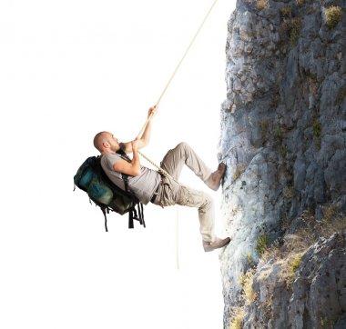 Explorer climbing mountains