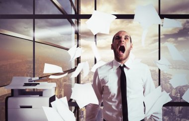 Businessman yelling in office