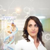 Fotografie Chemist explain chemical formulas