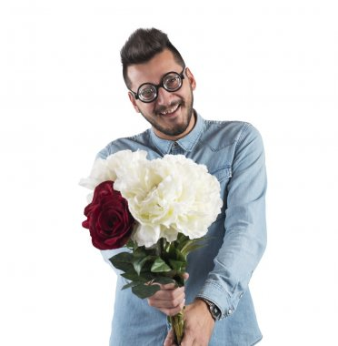 Man with a flowers bouquet