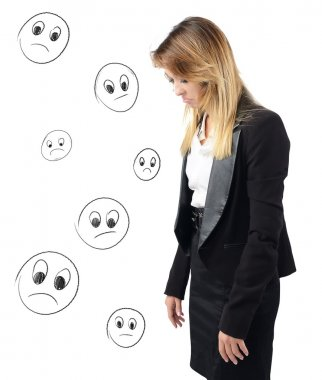 Businesswoman depressed and discouraged by her work stock vector
