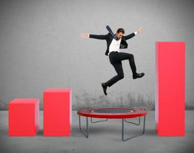 Businessman jumps between statistics