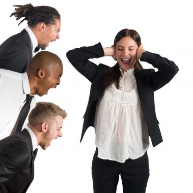 Businesswoman tired of hearing the leaders screams