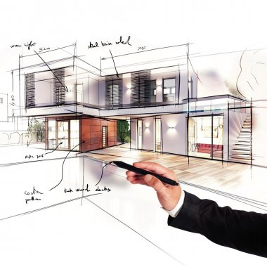 Architect designs the project of a villa stock vector