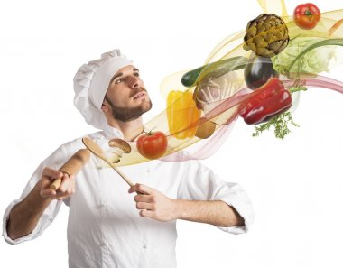 chef plays a harmony of food