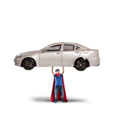 Superhero boy can lift a car