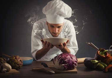 Chef smelling the aroma