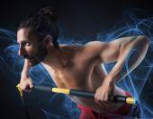 Muscular man training