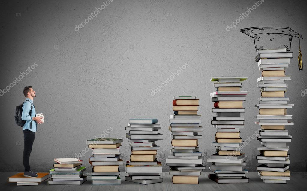 Student climbing a ladder of study