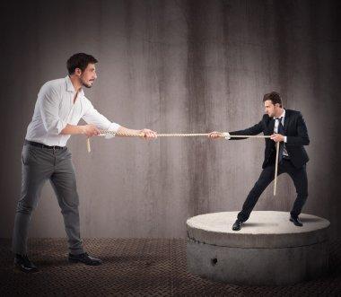 Big businessman against small businessman