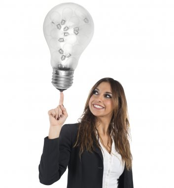 Businesswoman with a big light bulb